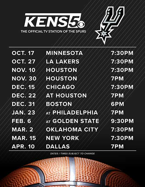 KENS 5 will air 12 Spurs games