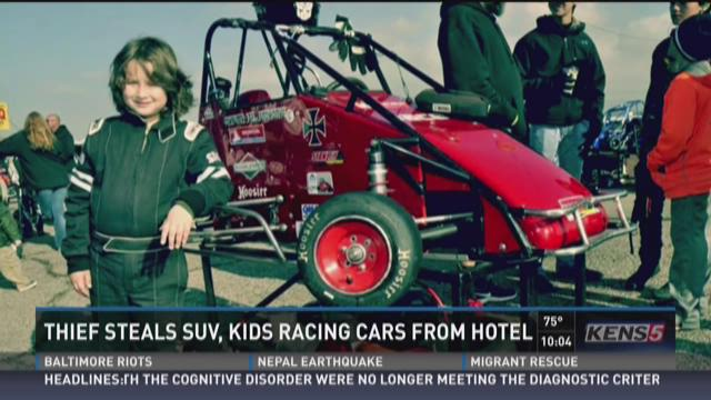 Thief steals SUV, kids racing cars from hotel