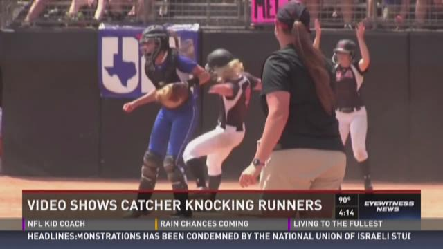 Softball Catcher Elbowing Runner Video Softball Elbowing Video Sparks