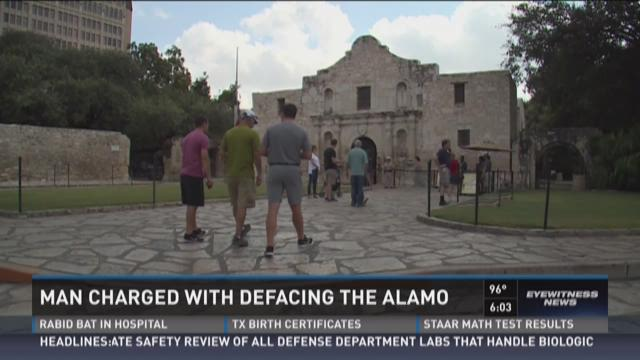 Man charged with defacing Alamo