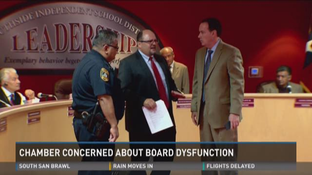 Attorneys argue while Southside ISD board members and a district police officer watch